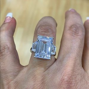Rhodium Plated  Baguette Emerald Engagement Ring